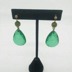 One Pair of Green Drop Earrings